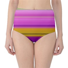 Stripes Colorful Background Colorful Pink Red Purple Green Yellow Striped Wallpaper High-Waist Bikini Bottoms