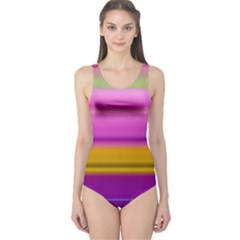 Stripes Colorful Background Colorful Pink Red Purple Green Yellow Striped Wallpaper One Piece Swimsuit