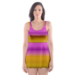 Stripes Colorful Background Colorful Pink Red Purple Green Yellow Striped Wallpaper Skater Dress Swimsuit