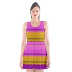 Stripes Colorful Background Colorful Pink Red Purple Green Yellow Striped Wallpaper Scoop Neck Skater Dress
