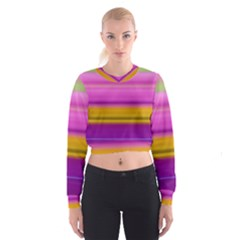 Stripes Colorful Background Colorful Pink Red Purple Green Yellow Striped Wallpaper Women s Cropped Sweatshirt