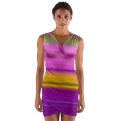 Stripes Colorful Background Colorful Pink Red Purple Green Yellow Striped Wallpaper Wrap Front Bodycon Dress