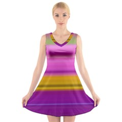 Stripes Colorful Background Colorful Pink Red Purple Green Yellow Striped Wallpaper V Neck Sleeveless Skater Dress