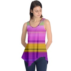 Stripes Colorful Background Colorful Pink Red Purple Green Yellow Striped Wallpaper Sleeveless Tunic