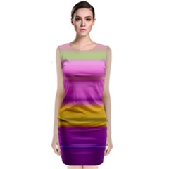 Stripes Colorful Background Colorful Pink Red Purple Green Yellow Striped Wallpaper Classic Sleeveless Midi Dress