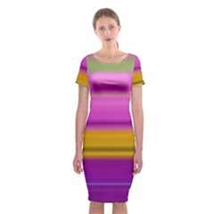 Stripes Colorful Background Colorful Pink Red Purple Green Yellow Striped Wallpaper Classic Short Sleeve Midi Dress