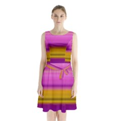 Stripes Colorful Background Colorful Pink Red Purple Green Yellow Striped Wallpaper Sleeveless Chiffon Waist Tie Dress