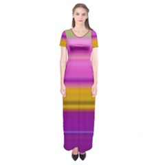 Stripes Colorful Background Colorful Pink Red Purple Green Yellow Striped Wallpaper Short Sleeve Maxi Dress
