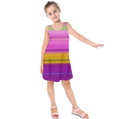 Stripes Colorful Background Colorful Pink Red Purple Green Yellow Striped Wallpaper Kids  Sleeveless Dress