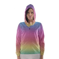 Watercolor Paper Rainbow Colors Hooded Wind Breaker (Women)