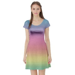 Watercolor Paper Rainbow Colors Short Sleeve Skater Dress