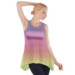 Watercolor Paper Rainbow Colors Side Drop Tank Tunic
