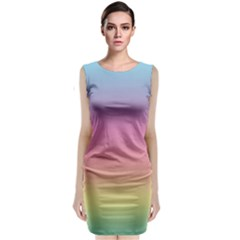 Watercolor Paper Rainbow Colors Classic Sleeveless Midi Dress