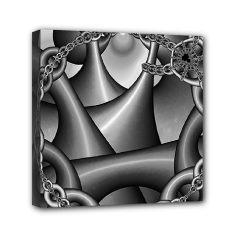 Grey Fractal Background With Chains Mini Canvas 6  X 6