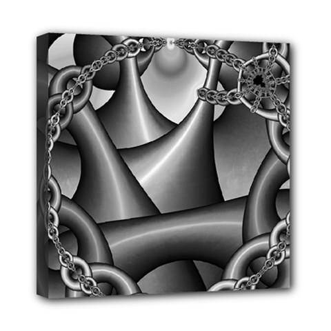 Grey Fractal Background With Chains Mini Canvas 8  x 8