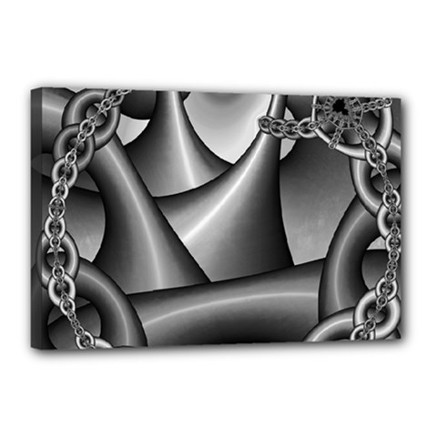 Grey Fractal Background With Chains Canvas 18  X 12