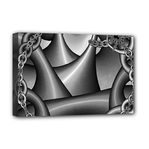 Grey Fractal Background With Chains Deluxe Canvas 18  x 12