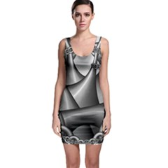 Grey Fractal Background With Chains Sleeveless Bodycon Dress