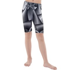 Grey Fractal Background With Chains Kids  Mid Length Swim Shorts