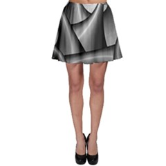 Grey Fractal Background With Chains Skater Skirt