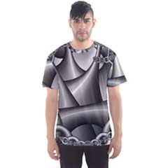 Grey Fractal Background With Chains Men s Sport Mesh Tee