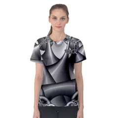 Grey Fractal Background With Chains Women s Sport Mesh Tee