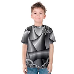 Grey Fractal Background With Chains Kids  Cotton Tee