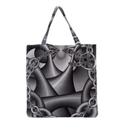 Grey Fractal Background With Chains Grocery Tote Bag