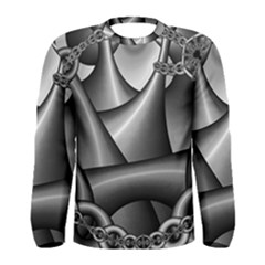 Grey Fractal Background With Chains Men s Long Sleeve Tee