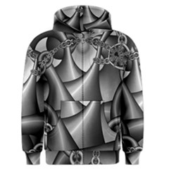 Grey Fractal Background With Chains Men s Zipper Hoodie