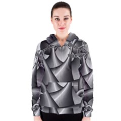 Grey Fractal Background With Chains Women s Zipper Hoodie