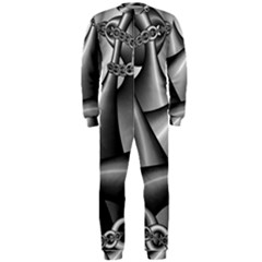 Grey Fractal Background With Chains Onepiece Jumpsuit (men)