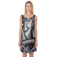 Grey Fractal Background With Chains Sleeveless Satin Nightdress