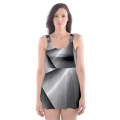 Grey Fractal Background With Chains Skater Dress Swimsuit
