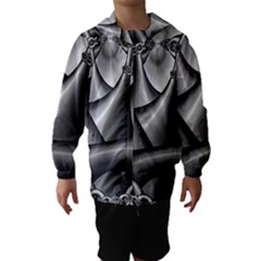 Grey Fractal Background With Chains Hooded Wind Breaker (kids)