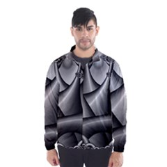 Grey Fractal Background With Chains Wind Breaker (men)