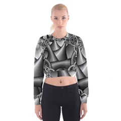 Grey Fractal Background With Chains Women s Cropped Sweatshirt