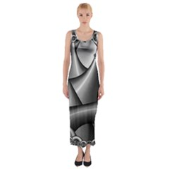 Grey Fractal Background With Chains Fitted Maxi Dress