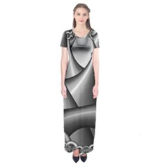 Grey Fractal Background With Chains Short Sleeve Maxi Dress