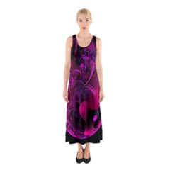 Fractal Using A Script And Coloured In Pink And A Touch Of Blue Sleeveless Maxi Dress