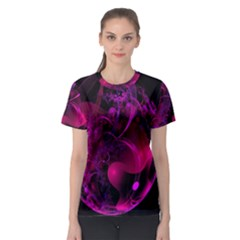 Fractal Using A Script And Coloured In Pink And A Touch Of Blue Women s Sport Mesh Tee