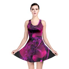 Fractal Using A Script And Coloured In Pink And A Touch Of Blue Reversible Skater Dress