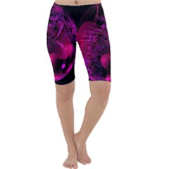 Fractal Using A Script And Coloured In Pink And A Touch Of Blue Cropped Leggings