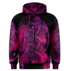 Fractal Using A Script And Coloured In Pink And A Touch Of Blue Men s Zipper Hoodie