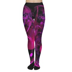 Fractal Using A Script And Coloured In Pink And A Touch Of Blue Women s Tights