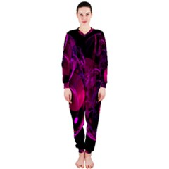 Fractal Using A Script And Coloured In Pink And A Touch Of Blue Onepiece Jumpsuit (ladies)