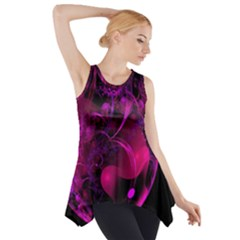 Fractal Using A Script And Coloured In Pink And A Touch Of Blue Side Drop Tank Tunic