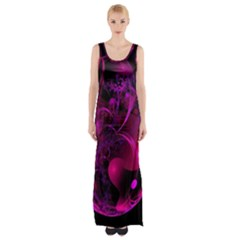 Fractal Using A Script And Coloured In Pink And A Touch Of Blue Maxi Thigh Split Dress