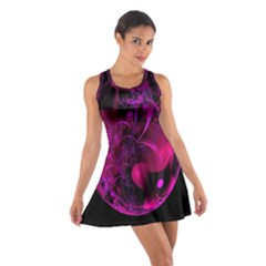 Fractal Using A Script And Coloured In Pink And A Touch Of Blue Cotton Racerback Dress