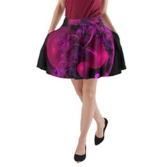 Fractal Using A Script And Coloured In Pink And A Touch Of Blue A Line Pocket Skirt